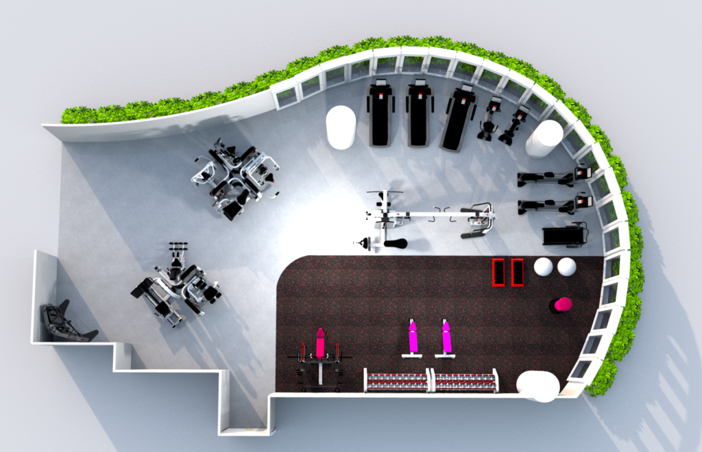 We can do a 2D, 3D or virtual tour layout concepts of your gym space